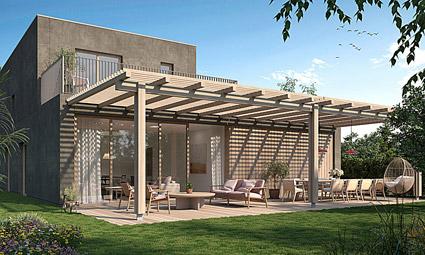 More, una casa prefabbricata con patio, immersa nel verde