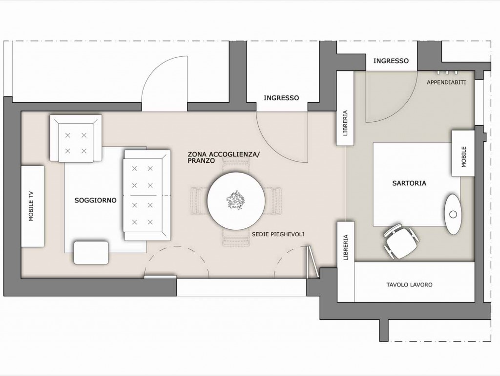 Soggiorno multifunzione il progetto in una stanza blog for Pianta da salotto