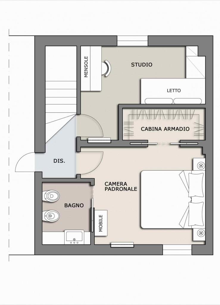 La camera diventa una piccola suite il progetto in una for Camera da letto e studio