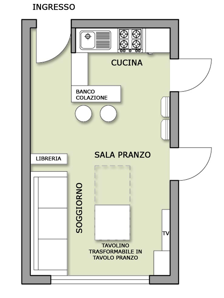 Zona giorno per single il progetto in una stanza blog for Open space planimetria del condominio