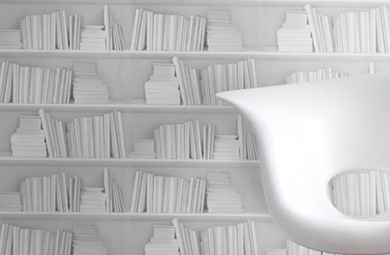 Nuovi spazi il progetto in una stanza blog casa design for Carta parati libri
