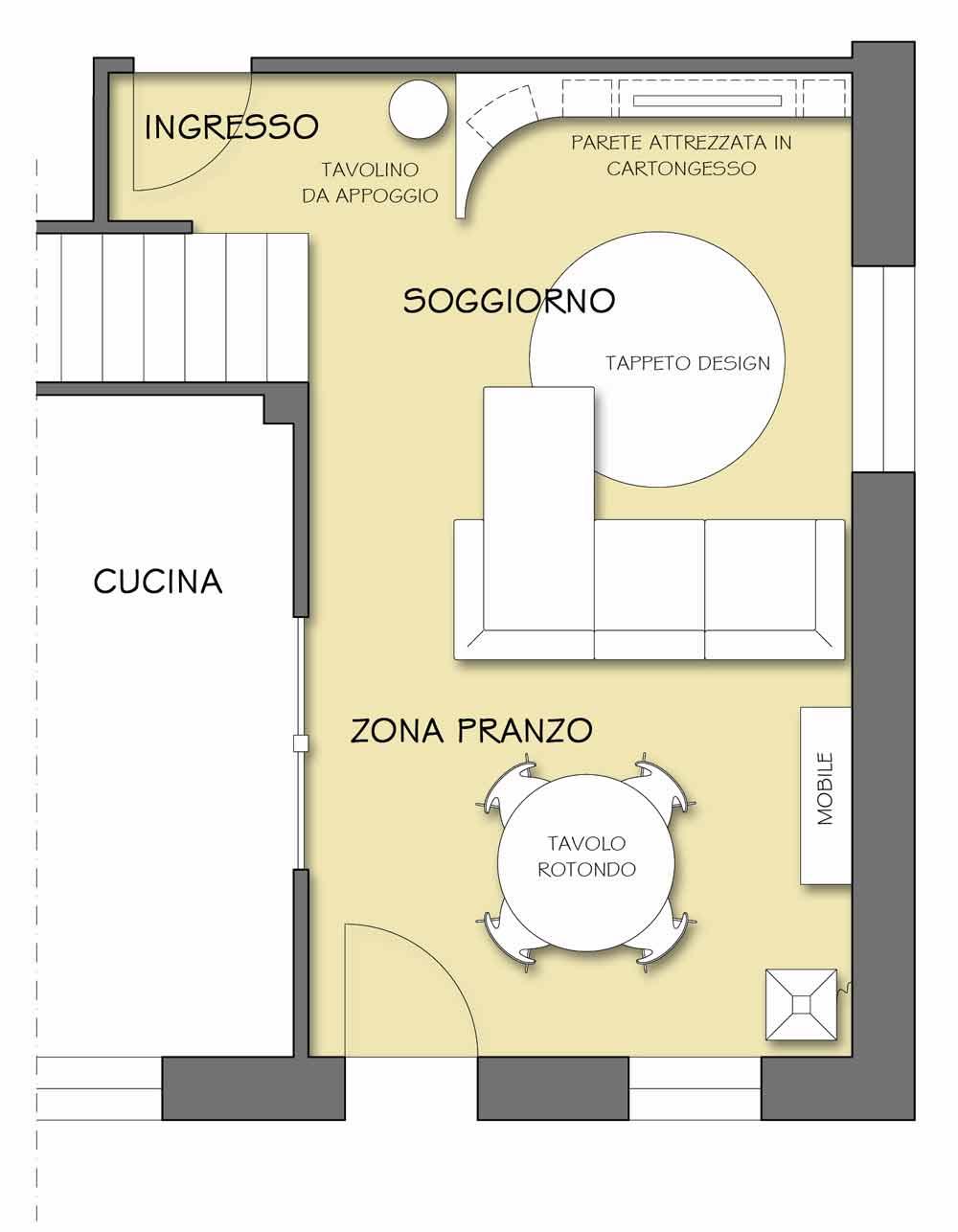 Stretto disegno Soggiorno : Il tappeto che personalizza il soggiorno - Il progetto in una stanza ...