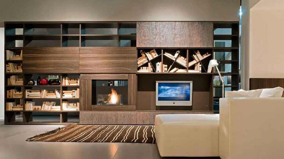 La parete attrezzata per il soggiorno il progetto in una stanza blog casa design - Parete con camino ...