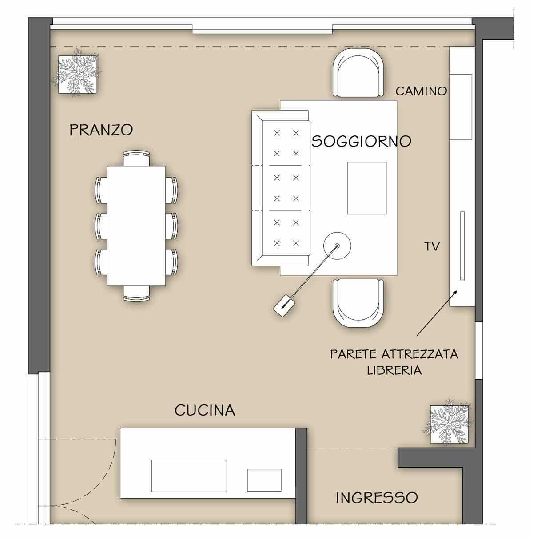 La parete attrezzata per il soggiorno - Il progetto in una stanza ...