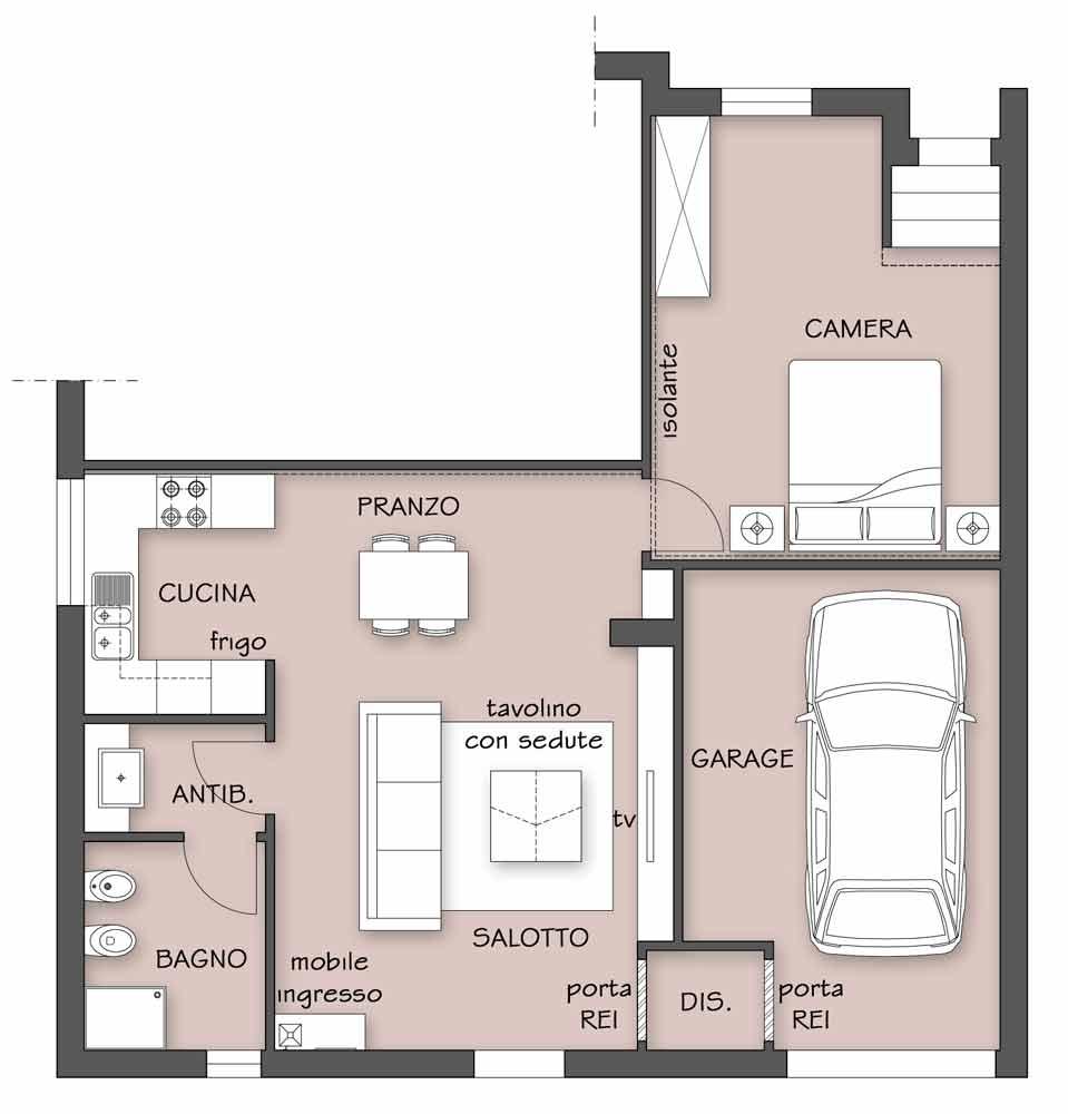 Ad ogni spazio la sua funzione il progetto in una stanza for Un garage per auto con appartamento