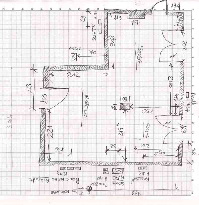 Zona giorno impossibile il progetto in una stanza for Pianta del pavimento con dimensioni