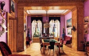Studio del Principe Adalberto - 1858 - L'insolita combinazione tra un leggerissimo lilla e il legno biondo genera, in questo caso, un contrasto di polarità che contribuisce alla percezione sinestetica di un ambiente profumato, dal gusto dolce e, potremmo aggiungere, raffinato e trasgressivo al tempo stesso.