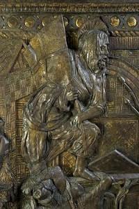 Particolare del Cristo risorto dopo la pulitura