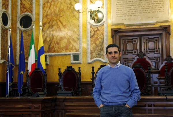 Mayor of Parma Pizzarotti, poses for a Reuters picture in the municipality in Parma
