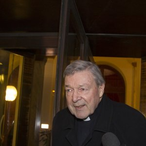 Cardinal Pell leaving the Quirinale Hotel