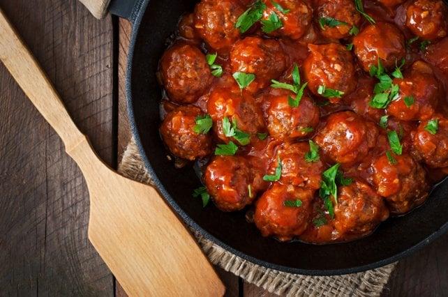 Meatballs in tomato sauce... hold the spaghetti.