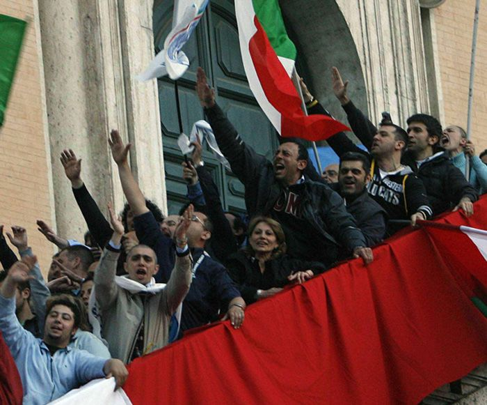 On the steps of Rome's Campidoglio when Gianni Alemanno was elected mayor in 2006.