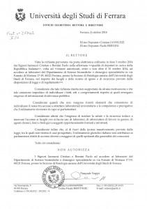 La lettera con cui il rettore dell'Università di Ferrara rifiuta l'ingresso nei laboratori di sperimentazione animali ai deputati M5S Bernini e