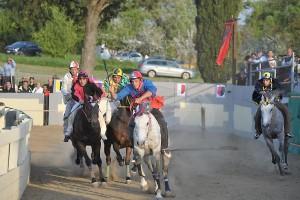 Il cavallo Quintana muore durante il Palio di Sant'Anselmo a Bomarzo (Vt) sabato 25 aprile schiantandosi contro la staccionata in una curva