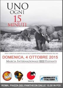 Domenica 4 ottobre a Roma manifestazione contro la strage di elefanti, nell'ambito della Global March for Elephants e Rhinos. Il traffico di avorio e corni ha condotto elefanti e rinoceronti a un passo dall'estinzione