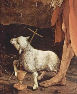 Da sempre gli animali, incarnando purezza e innocenza, fanno parte dell'iconografia cristiana, ma l'amore verso di essi rimane su un piano simbolico, smentito dai fatti. Particolare della Crocefissione di Matthias Grünewald