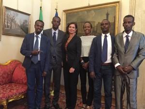 La Presidente della Camera Laura Boldrini con i giornalisti di Radio Shabelle
