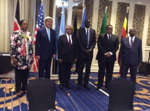 John Kerry nei colloqui con i suoi omologhi dell'IGAD ieri a Nairobi - per gentile concessione di Kismaayo24
