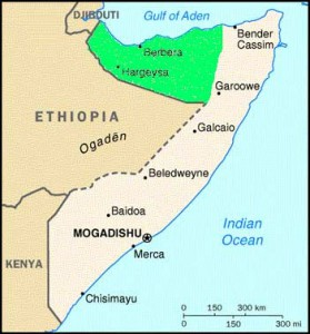 Mappa del Somaliland, regione autonoma della Somalia