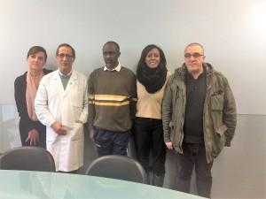 Il saluto dell'Ospedale San Carlo ad Ahmed: da sinistra la D.sa Lasorella, il Dr. Picierno, Ahmed, Shukri Said e Michele Alberti