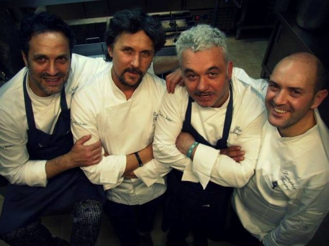 Da sinistra gli chef Nazario Biscotti, Domenico Cilenti, Gegè Mangano e Leonardo Vescera (ph Luciano Pignataro wine blog)