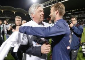 Fine torneo. Ancelotti abbraccia Beckham a Parigi