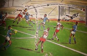 Uno dei gol fatali all'Italia ai Mondiali del 1974, Polonia-Italia 2-1 (disegno di Carmelo Silva, da carmelosilva.blogspot.com)