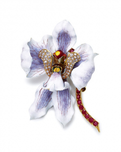 AN ANTIQUE ENAMEL, RUBY AND DIAMOND ORCHID BROOCH, BY TIFFANY & CO.