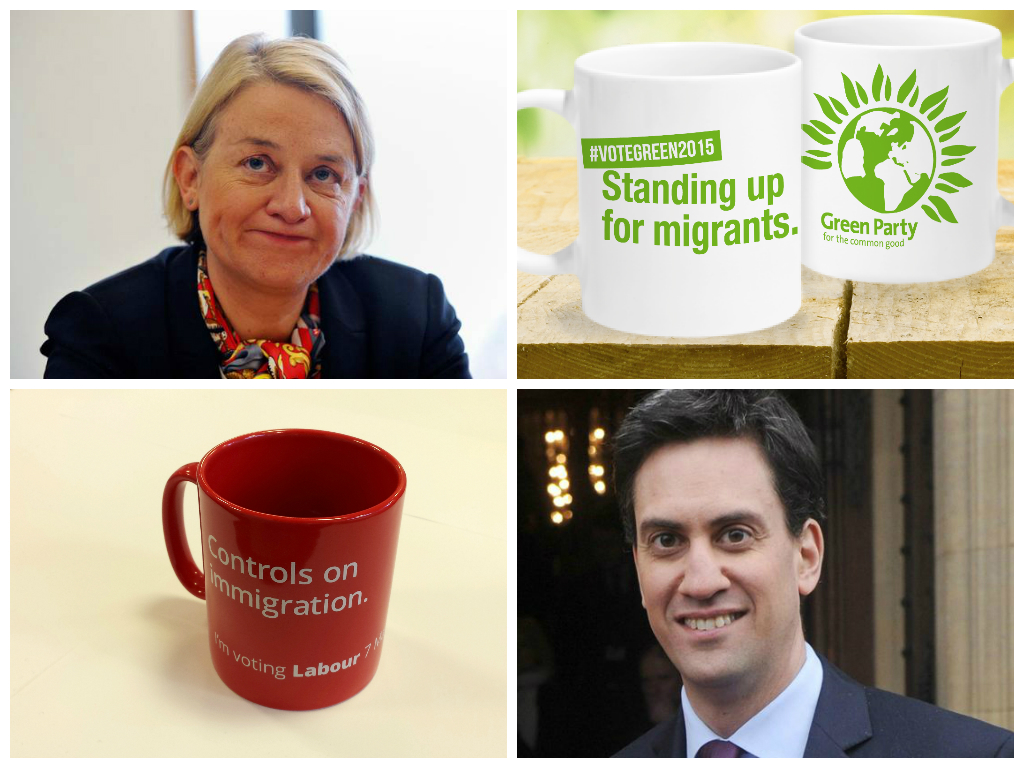 In senso orario: Natalie Bennet, Green Party, Green party mugs, Ed Milliband, Labours, Labour Mug