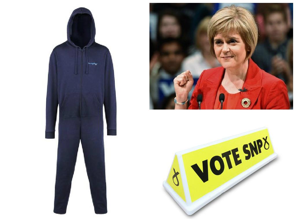 In senso orario, Onesie da uomo 'Scottish N Proud', Nicola Sturgeon, leader SNP, placca magnetica per il tettuccio della macchina