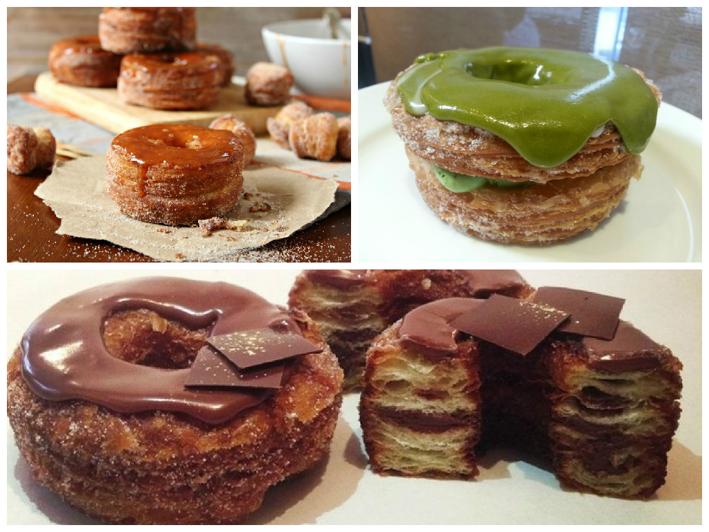 Da sx a dx: Cronut al caramello con ripieno di crema, al thè verde e cioccolato