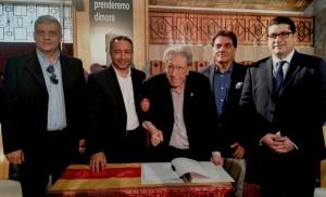 Da destra Salvatore Sotera, Arturo Caranna, Padre Luigi Ferlauto,  Filippo Drago e Fabio Venezia