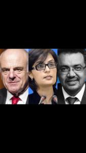I tre candidati a Direttore Oms: Nabarro, Nishtar e Tedros
