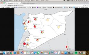 I centri sanitari colpiti in Siria: in rosso le segnalazioni verificate