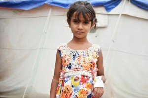 Areej, 5 anni, trattata  con successo a Sana'a nei centri Oms-Unicef.