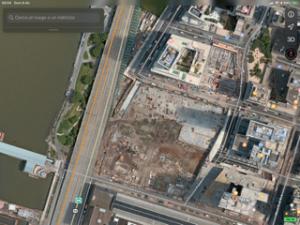 L'area sull'Hudson tra la 59a e la 61a a Manhattan ovest nella foto del satellite sul Google Maps