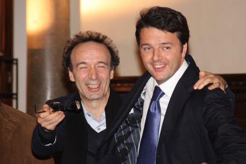 Matteo Renzi con Roberto Benigni
