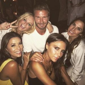 I Beckham con me Spice Girls Emma e Mel C ed Eva Longoria