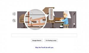 Il doodle che il 4 maggio 2015 Google ha dedicato a Bartolomeo Cristofori in occasione del 360mo anniversario dalla nascita