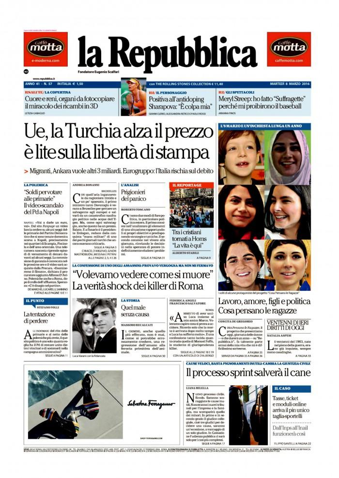 La Repubblica It Nel 2019: Prima Pagina La Repubblica 8 Marzo