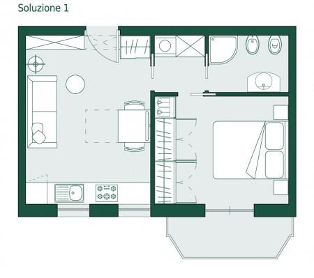 Monolocale di 35 mq la coppia non scoppia casa design for Come progettare una pianta del piano interrato