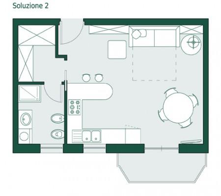 Arredare monolocale 35 mq for Arredare casa di 40 mq