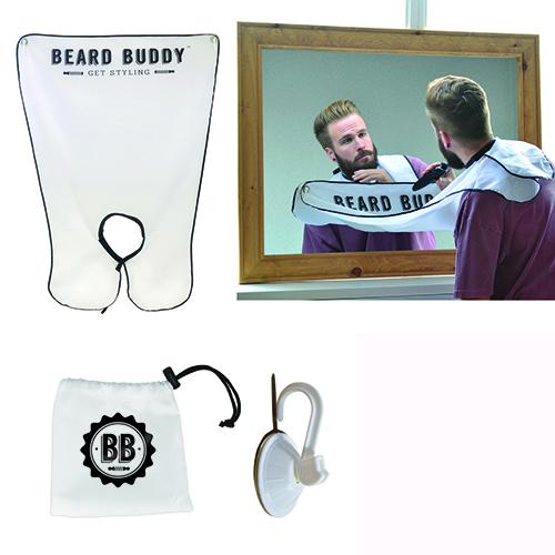 Da Maiuguali un bavaglio da attaccare allo specchio per regolare la barba senza sporcare il lavandino (26 euro)