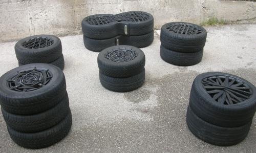 Idee con pneumatici. il riciclo creativo delle cassette di legno una