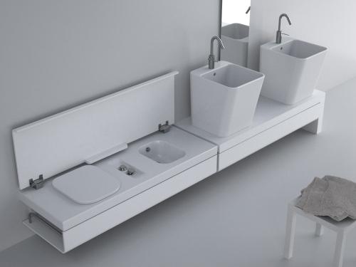 Da Hatria, il sistema G.Full, in linea contenitori e lavabi salvaspazio