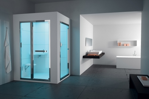 Teuco rivoluzione il concetto di relax: Steam Room Pasha è un ambiente hammam, dotato dicomandi touch control pergestire temperatura, durata del ciclo di vapore, cromoexperience e aromaterapia