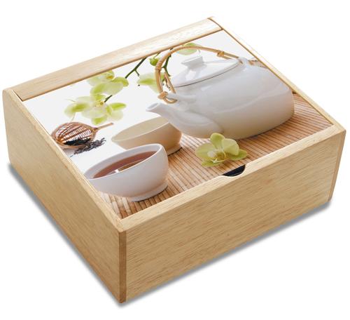 Easy life, scatola porta bustine da the in legno, con coperchio in vetro. Da 28 euro