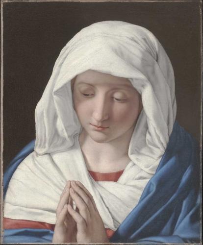 """""""Madonna Orante"""" di Giovanni Battista Salvi detto Il Sassoferrato (olio su tela, dim cm 47,6 x 38,6), esposta dalla Galleria Altomani&Sons"""