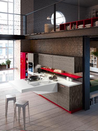 Snaidero invece propone Board: la cucina sospesa che si può agganciare a qualsiasi piano