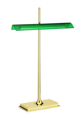 Da Flos, Goldman: elegante, con il paralume verde in contrasto con la struttura dorata, un'idea di Ron Gilad, costa 353 euro